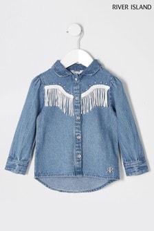 River Island Blue Denim Tassel Shirt