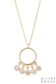 Oliver Bonas Multi Stone Fan Gold Plated Necklace