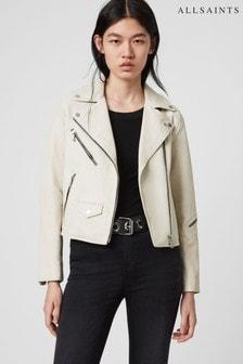 AllSaints Off White Leather Riley Biker Jacket