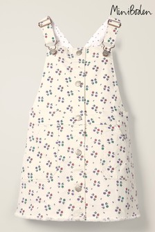 Mini Boden Ivory Button Through Dungaree Dress