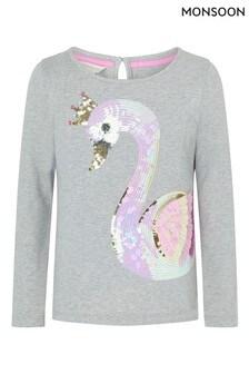 Monsoon Sequin Swan Long-Sleeve T-Shirt