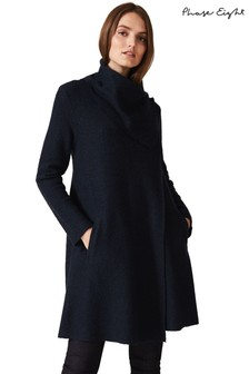 Phase Eight Blue Bellona Level Hem Knit Coat