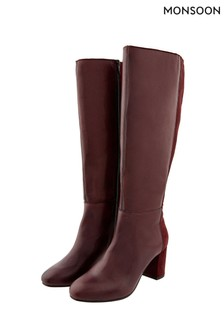 Monsoon Red Robyn Leather And Suede Long Boots