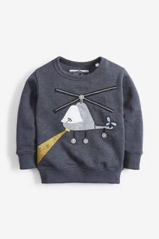 Sweater met ronde hals en helikopterapplicatie (3 mnd-7 jr)