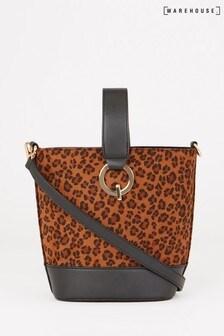 Warehouse Animal Top Handle Leopard Bucket Bag