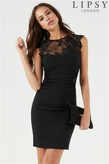 Облегающее платье с кокеткой и пайетками Lipsy