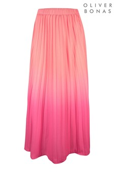 Oliver Bonas Pink Ombre Pleat Midi Skirt