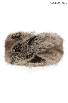 Accessorize Nude Luxe Faux Fur Bando Headband