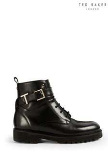 Ted Baker Black Raign Lace Up Biker Boots