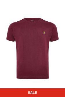 Boys Burgundy Cotton Jersey T-Shirt