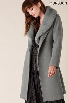 Monsoon Grey Faux Fur Collar Coat