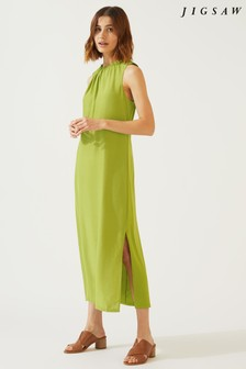 Jigsaw Green Drawstring Neck Dress