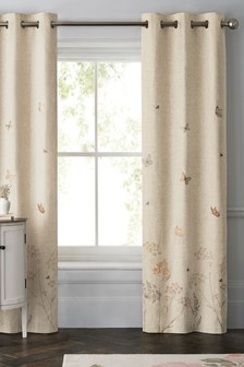 Butterfly Embroidered Eyelet Curtains