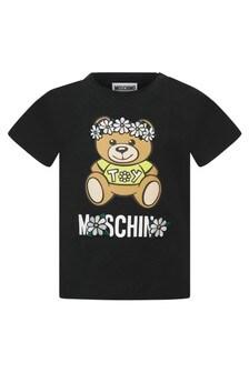 Moschino Kids Baby Girls Black Cotton T-Shirt