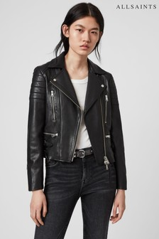 AllSaints Black Leather Halley Biker Jacket