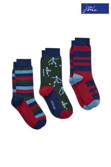 Joules Red Striking Socks Three Pack