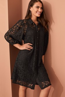 Lace Shirt Swing Dress