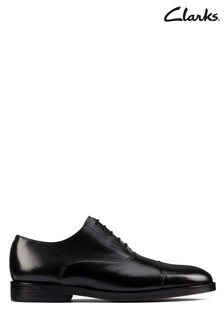 Clarks Black Leather Oliver Cap 2 Shoes