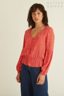 Oliver Bonas Red Spot Print Through Top