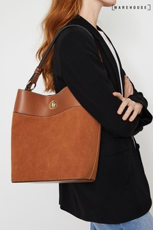 Warehouse Tan Lock Detail Tote Bag