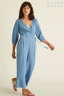 Oliver Bonas Blue Wrap Chambray Jumpsuit
