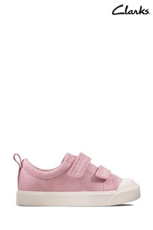 Clarks Pink Canvas City Bright T Canvas Velcro Shoes