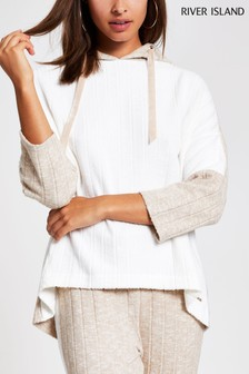 River Island Cream Ribbed Jersey Hoody