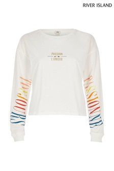River Island Cream Print Passion Lamour T-Shirt