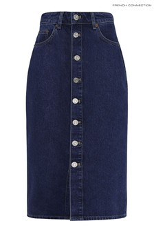 French Connection Reo Organic Denim High Waisted Button Front Pencil Skirt