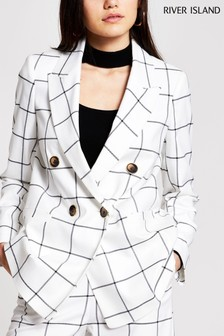 River Island White Check Peaked Collar Blazer