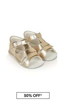 Andanines Baby Girls Gold Leather Sandals