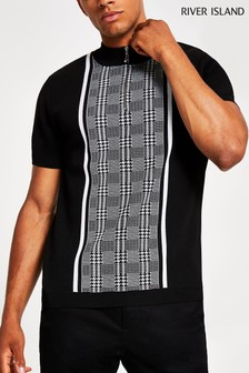 River Island Dogtooth Turtle Neck Jumper