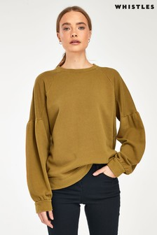 Whistles Olive Pleated Shoulder Sweatshirt