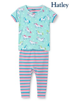 Hatley Blue Prancing Unicorns Organic Cotton Short Sleeve Pyjamas