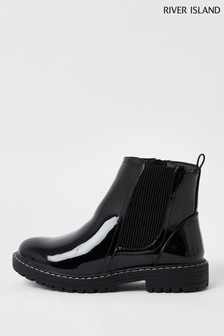 River Island Black Older Girls Patent Clumpy Chelsea Boots