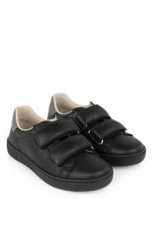Black Leather New Ace Velcro Trainers