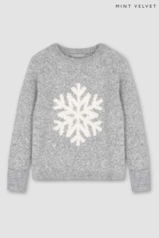 Mint Velvet Grey Snowflake Fluffy Knit Jumper