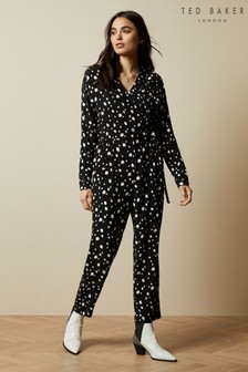 Ted Baker Black Kollet Polka Dot Wrap Jumpsuit