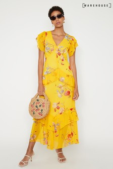 Warehouse Floral Tiered Maxi Dress