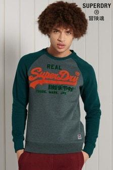 Superdry Green Vintage Logo Duo Raglan Crew Sweatshirt