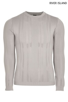 River Island Grey Pointelle Knitted Crew Neck Jumper