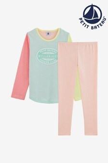 Petit Bateau Pyjama mit bunten Streifen, Pink