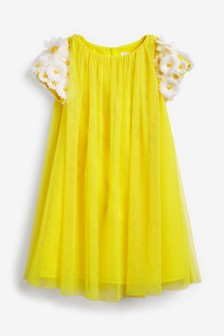 Charabia Yellow Daisy Sleeve Dress
