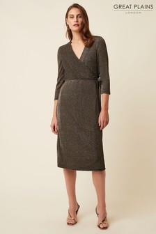 Great Plains Gold Ivy Jersey Long Sleeve V Neck Dress