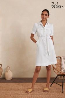 Boden White Carrie Linen Shirt Dress