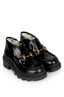 GUCCI Kids Black Leather Harald Booties