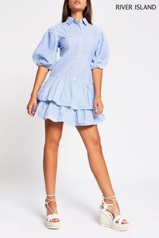 River Island Blue Light Lurex Puff Sleeve Shirt Dress