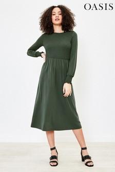 Oasis Green Shirred Midi Dress