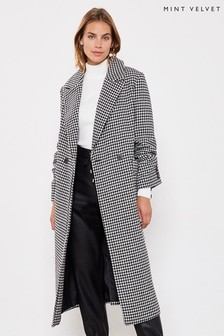 Mint Velvet Black Dogtooth Chuck On Coat