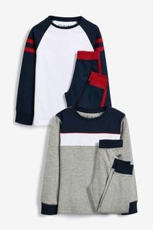 2 Pack Colourblock Pyjamas (3-16yrs)